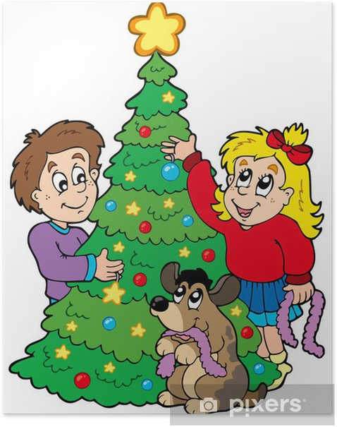 Two Kids Decorating Christmas Tree Poster