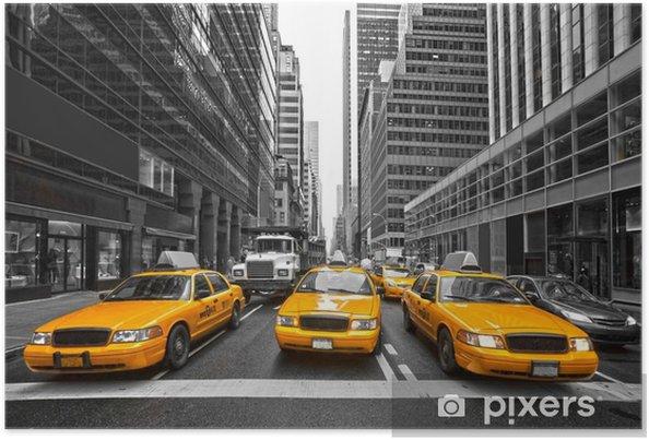 Póster TYellow taxis en Nueva York, EE.UU.. -