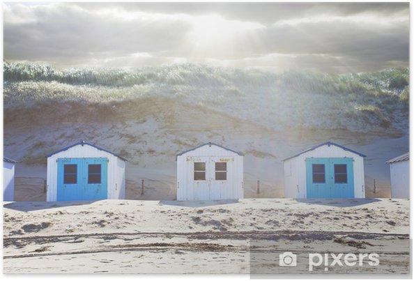 Poster Typische Nederlandse strand huizen in een rij - Privé Gebouwen