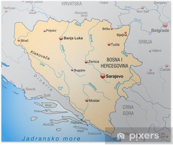 Karta Bosnien Och Hercegovina.Poster Ubersicht Von Bosnien Hercegovina Und Umgebung Pixers Vi