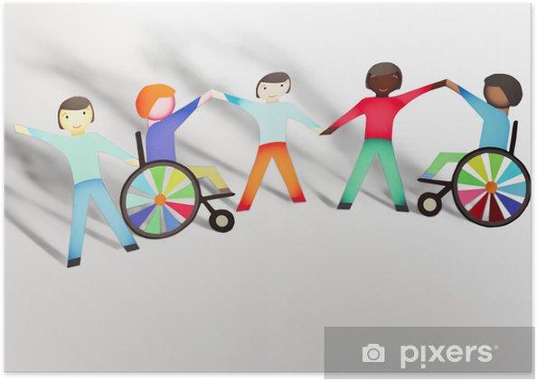 Poster Uitgeschakeld. Familie concept met rolstoel- papieren poppen - Groepen en Menigte