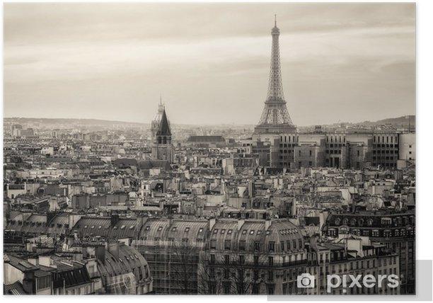 Poster Uitzicht over Parijs en de Eiffeltoren van Boven -
