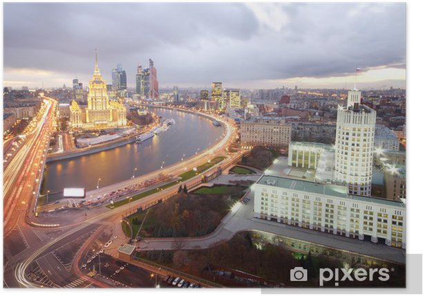 Ukraine Hotel, Moskva River and Russian government building Poster - Moscow
