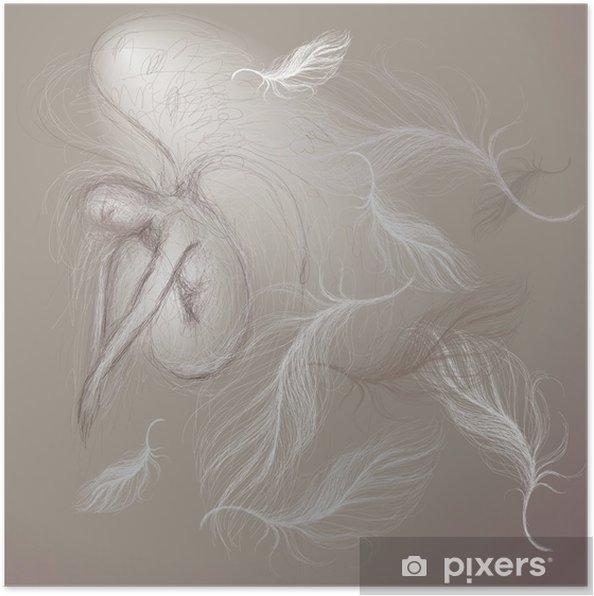 Poster Un ange à la paix / Fine esquisse - Beauté et soins du corps