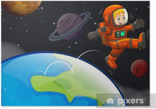 Poster Un astronaute heureux dans le ciel - Autres sentiments