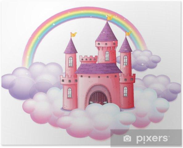 Póster Un castillo de cuento de hadas rosa - Recursos gráficos