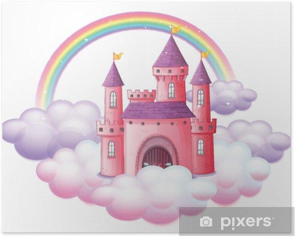 Poster Un château de conte de fées rose - Ressources graphiques