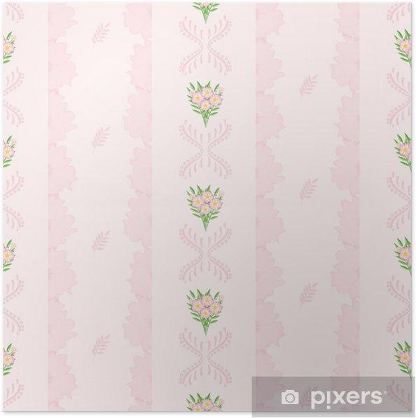 Poster Un Dessin Dans Une Petite Fleur Rose Avec Des Feuilles Vertes