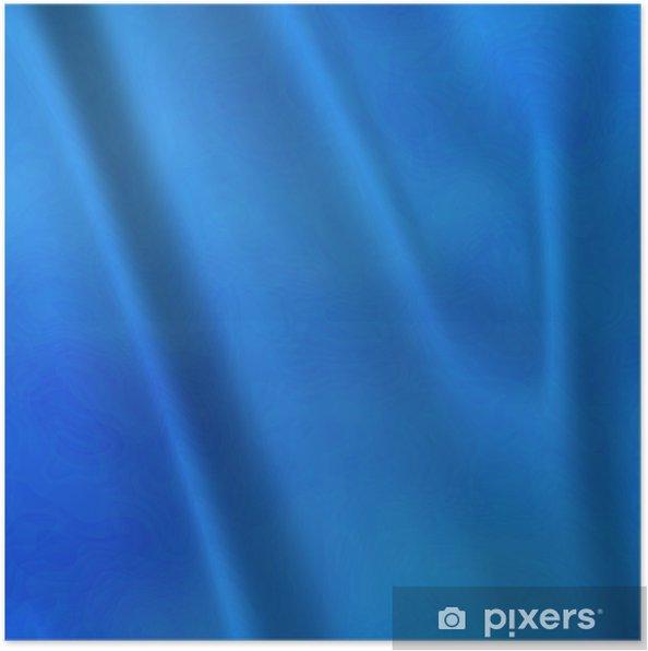 Póster Un gran fondo abstracto de cortinas de tafetán azul o cortinas - Texturas