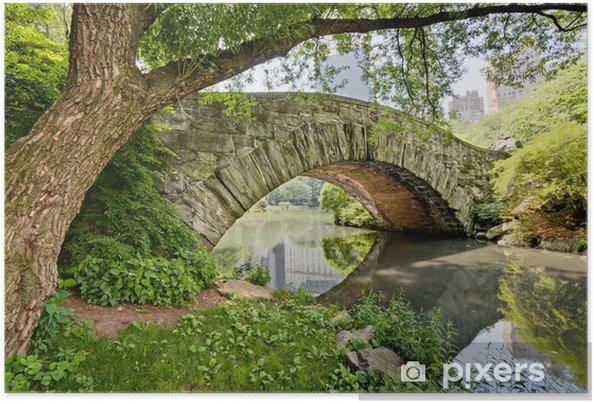 Poster Un pont de pierre, Gapstow Bridge, dans Central Park, New York. - Eau