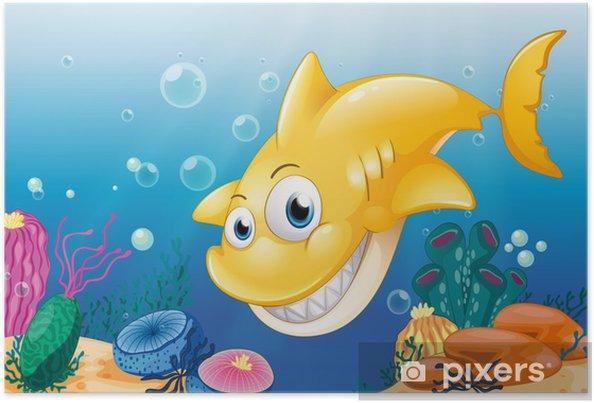 Poster Un requin jaune souriant sous la mer - Animaux marins