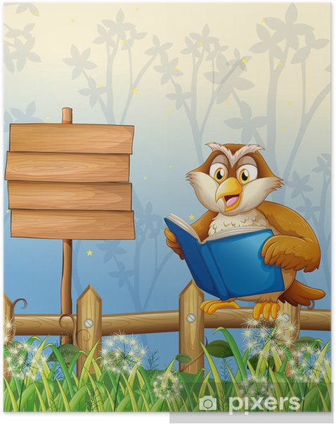 Poster Une chouette lecture d'un livre à côté d'un panneau en bois - Thèmes