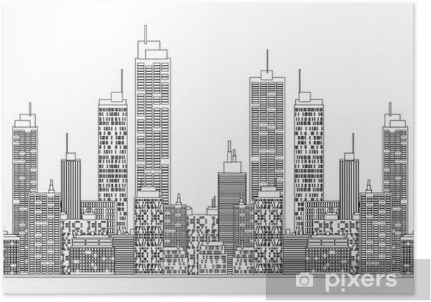 Poster Une illustration de style de plan d'horizon de la ville. - Sticker mural