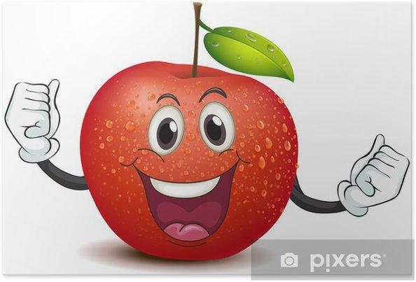 Poster Une pomme croquante souriant - Fruits
