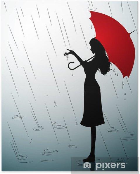 code promo ed34e a9043 Poster Une silhouette d'une jeune fille avec un parapluie rouge