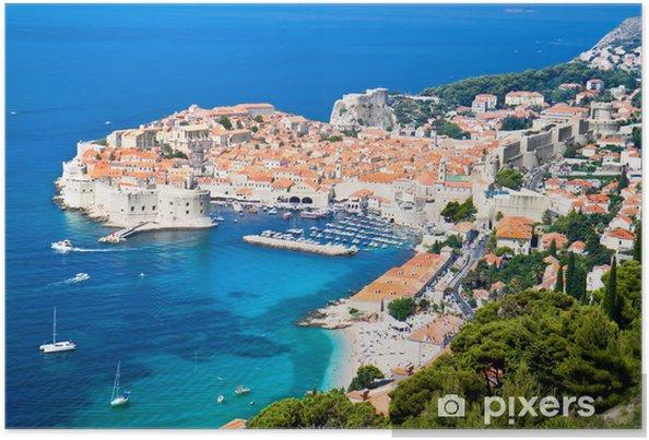 Poster Une vue panoramique de vieille ville de Dubrovnik - Thèmes