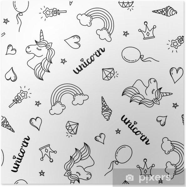 Póster Unicornio, arco iris y corazones de patrones sin fisuras ...