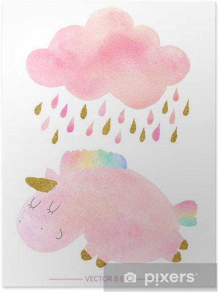 Póster Unicornio de la acuarela y nubes con lluvia - Animales