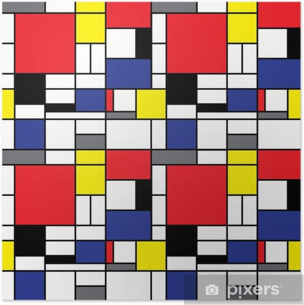 Poster Upprepande Mondrian Bakgrund - Stilar