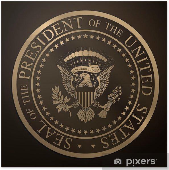 Poster US Golden presidents- förseglar Relief - Amerikanska städer
