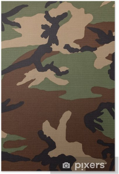 Us Military Woodland Camouflage Fabric Texture Background Poster