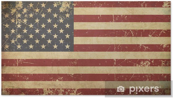 Poster USA Åldrad Platt flagga - Teman