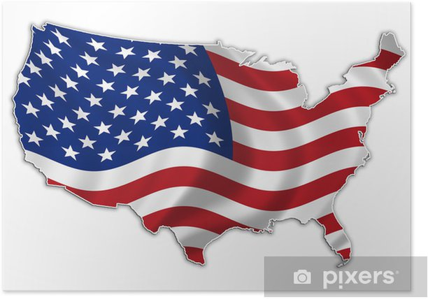 USA flag map high res Poster - Outer Space