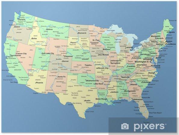 Poster USA kaart met namen van staten en steden - Thema's
