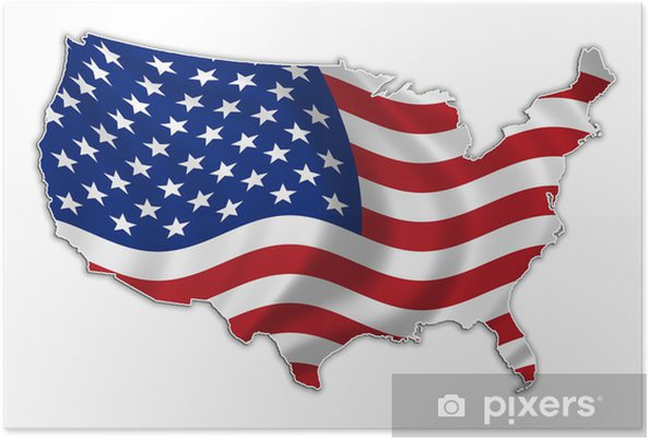 Poster USA vlag kaart high res - Ruimte
