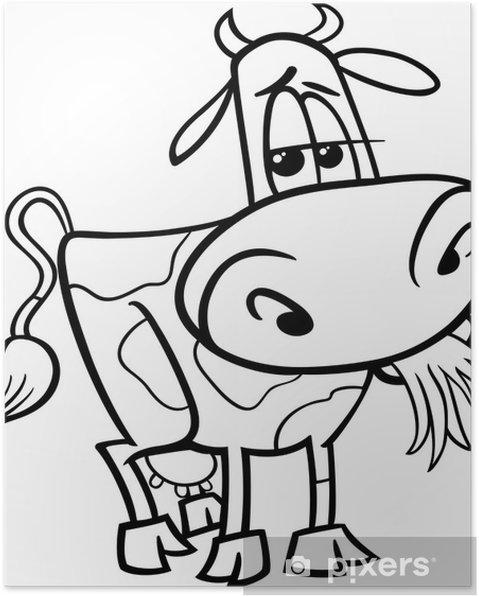 Póster Vaca de la granja de dibujos animados de libro para colorear ...