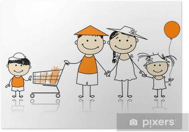 Poster Vacances d'été. Famille heureuse avec panier - Mode