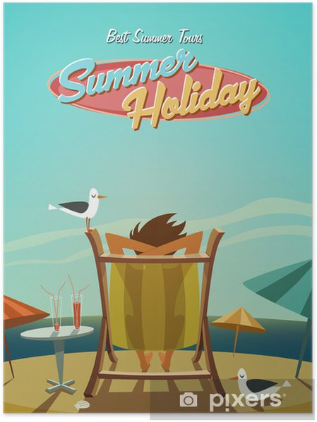 Poster Vacances d'été. Rétro antécédent - Vacances