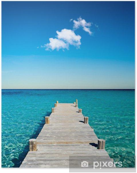 Póster Vacances plage ponton bois -