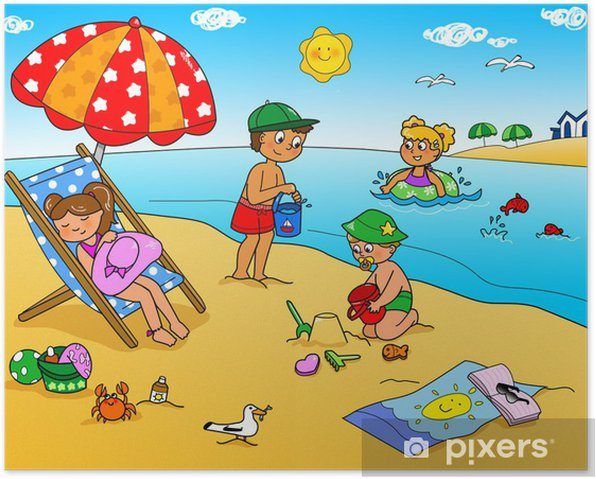 Vacanze Destate Bambini Che Giocano In Spiaggia Poster Pixers