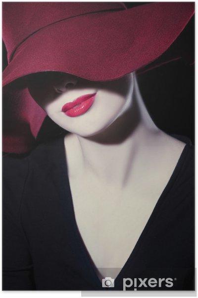 Poster Vacker kvinna med hatt och röda läppar • Pixers® - Vi lever ... 46fe57c519ff4