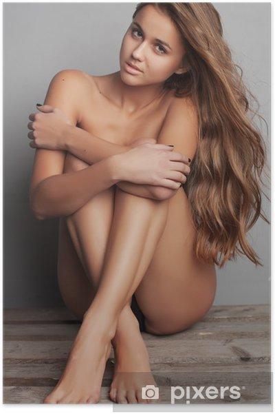 Poster Vacker naken kvinna med perfekt hud på en bakgrund - Teman