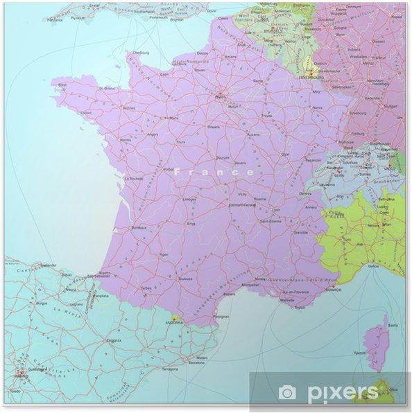 Poster Vag Och Administrativa Karta Over Frankrike Pixers Vi