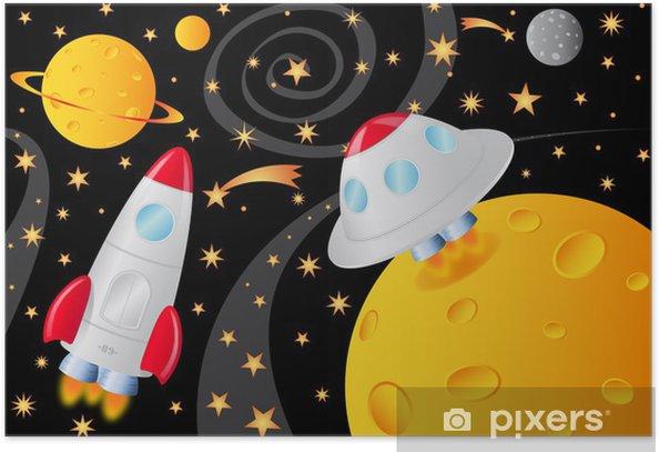 Poster Vaisseaux spatiaux dans l'univers - Espace