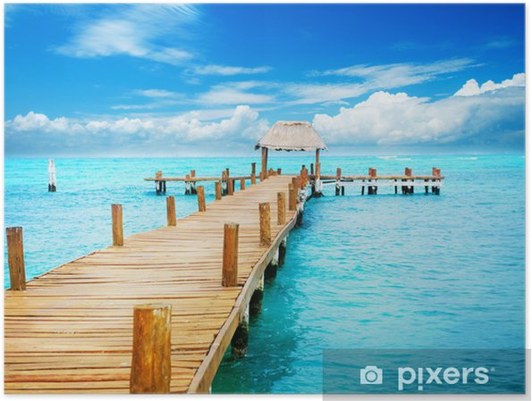 Poster Vakantie in Tropic Paradise. Pier op Isla Mujeres, Mexico - Thema's