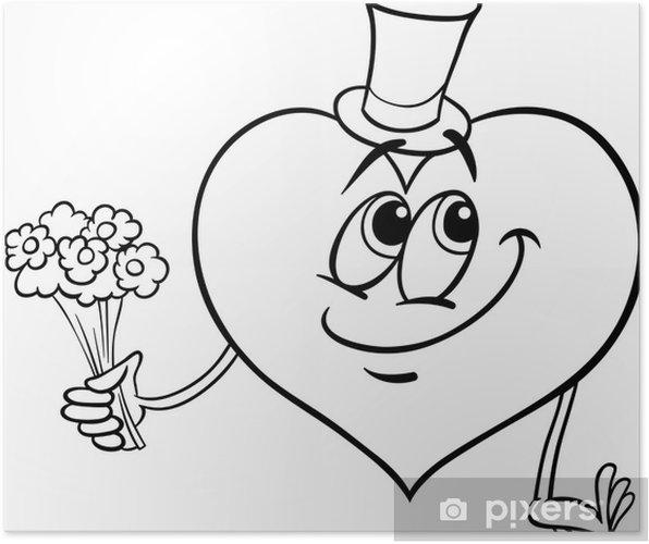 poster valentijn hart met bloemen kleurplaat pixers