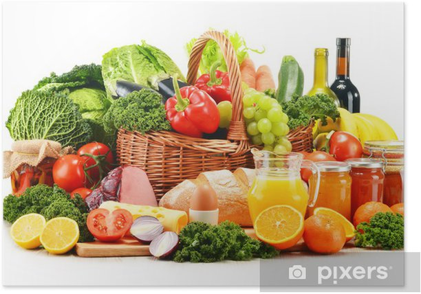 Poster Variété de produits d'épicerie biologiques isolés sur fond blanc - Légumes