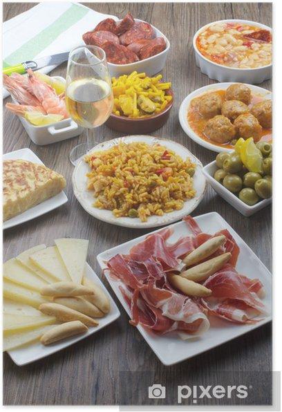Poster Variété de tapas espagnoles - Repas