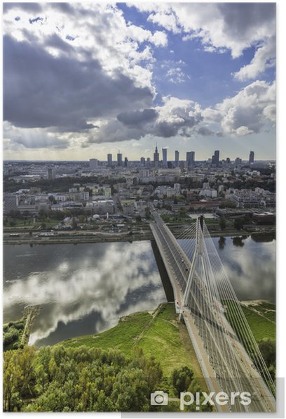 Póster Varsovia horizonte detrás del puente, Polonia - Temas