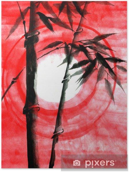 Poster Vattenfärg bläck Japanise bambu solnedgång - Växter & blommor