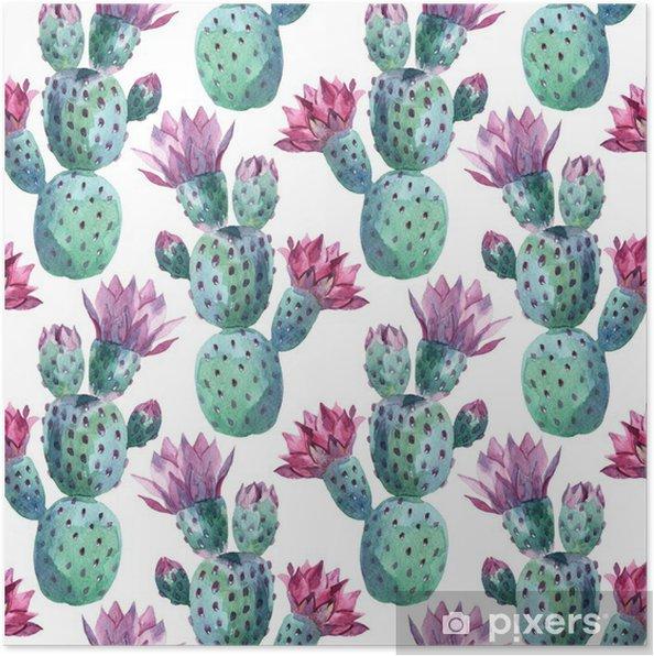 Poster Vattenfärg seamless kaktus mönster -