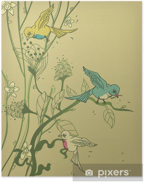 Poster Vecteur arbre avec des oiseaux et des fleurs colorées - Animaux imaginaires