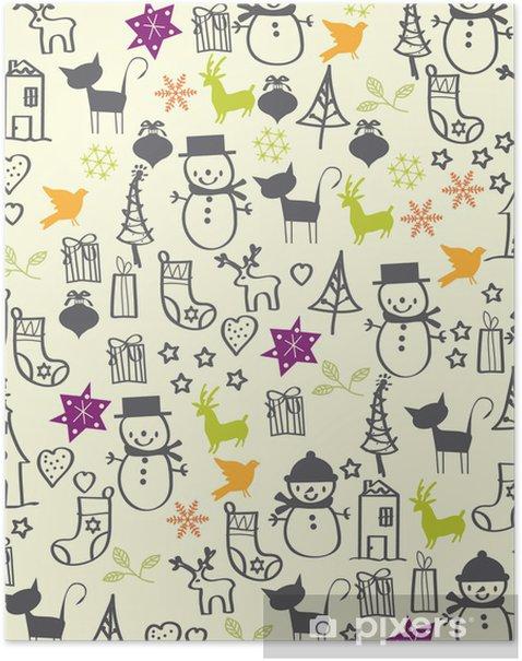 Poster Vecteur - carte de Noël avec des éléments graphiques - Arrière plans