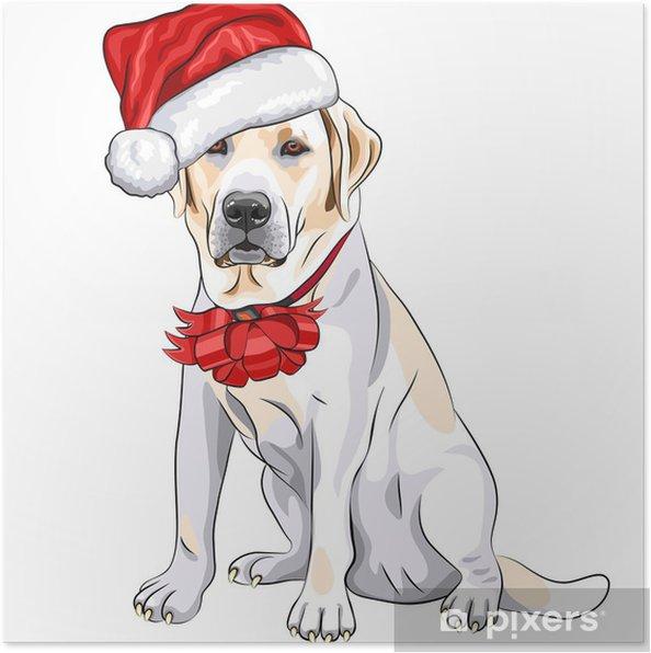 Poster Vecteur chien Labrador dans le chapeau de Père Noël avec l'arc de Noël - Sticker mural