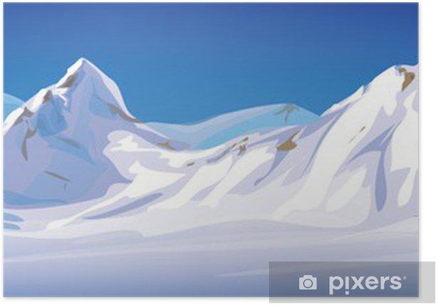 Poster Vecteur de paysage d'hiver, les montagnes couvertes de neige. - Saisons