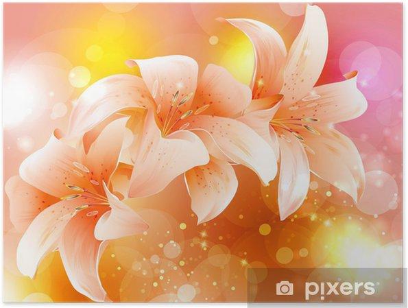 Poster Vecteur fleur lys - Arrière plans